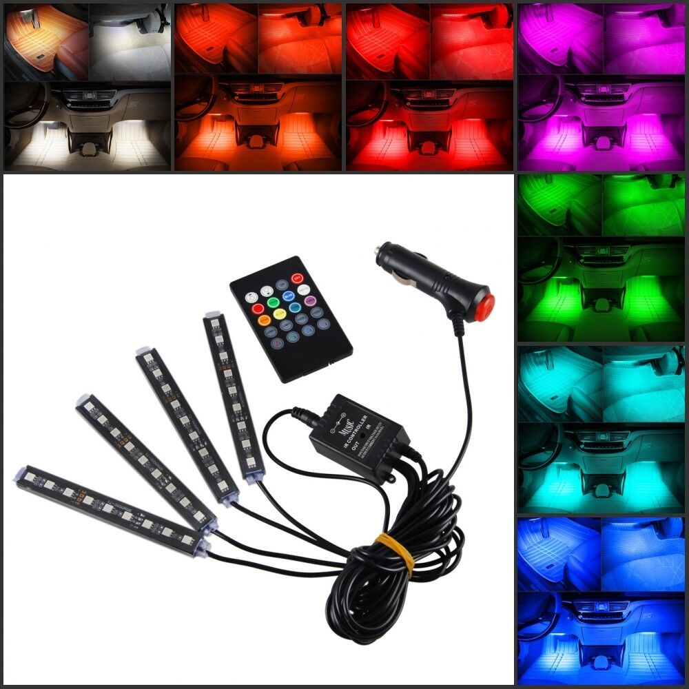 9led 7 colorful remote control ambient foot well lighting car interior parking ebay. Black Bedroom Furniture Sets. Home Design Ideas