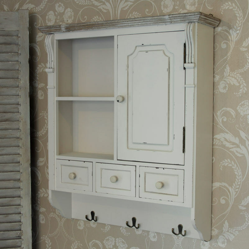 Cream Wall Mounted Cupboard With Hooks French Country