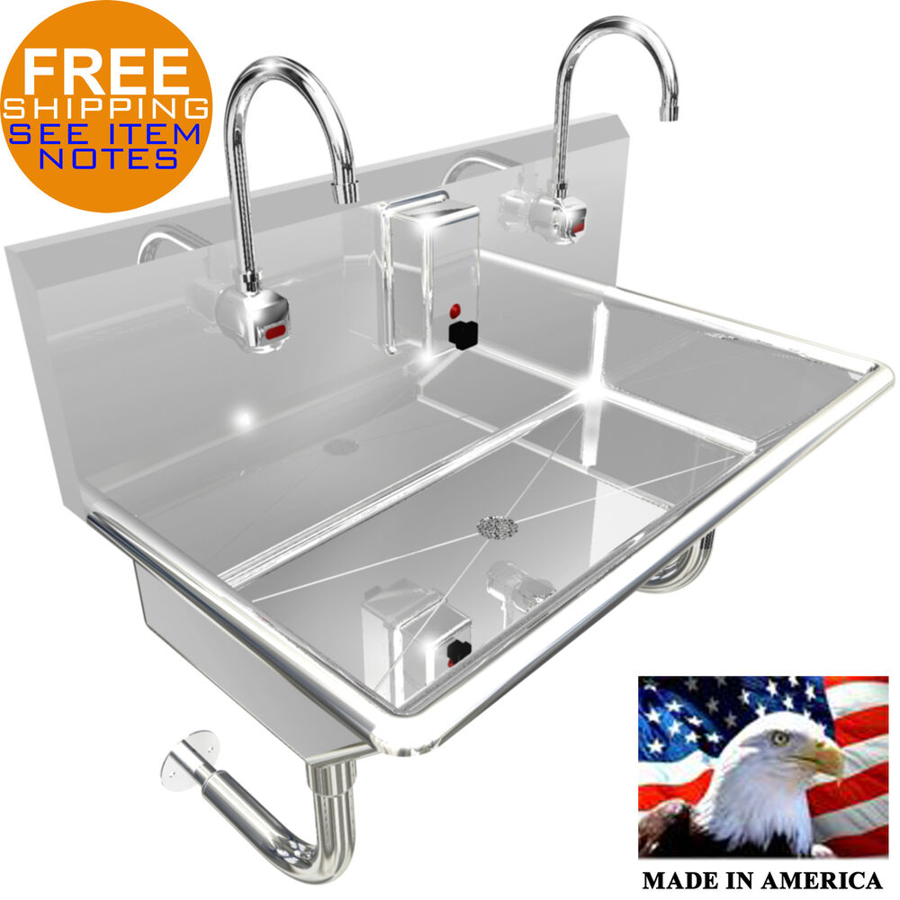 "2 STATION 36"" WASH UP SINK HANDS FREE HEAVY DUTY 304"