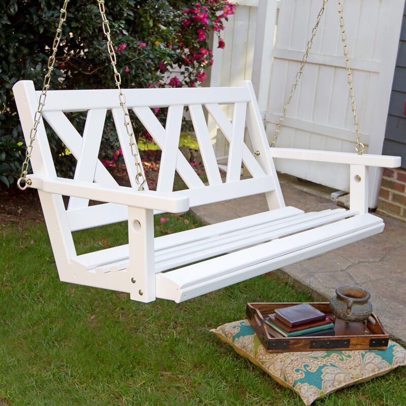 Porchgate Amish Made Haven 4ft White Porch Swing
