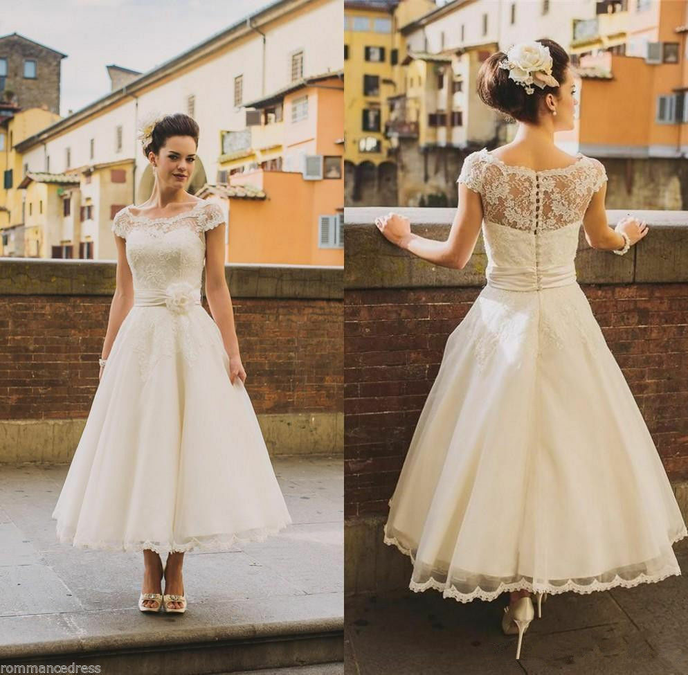 2019 year looks- Lace ivory tea length wedding dress