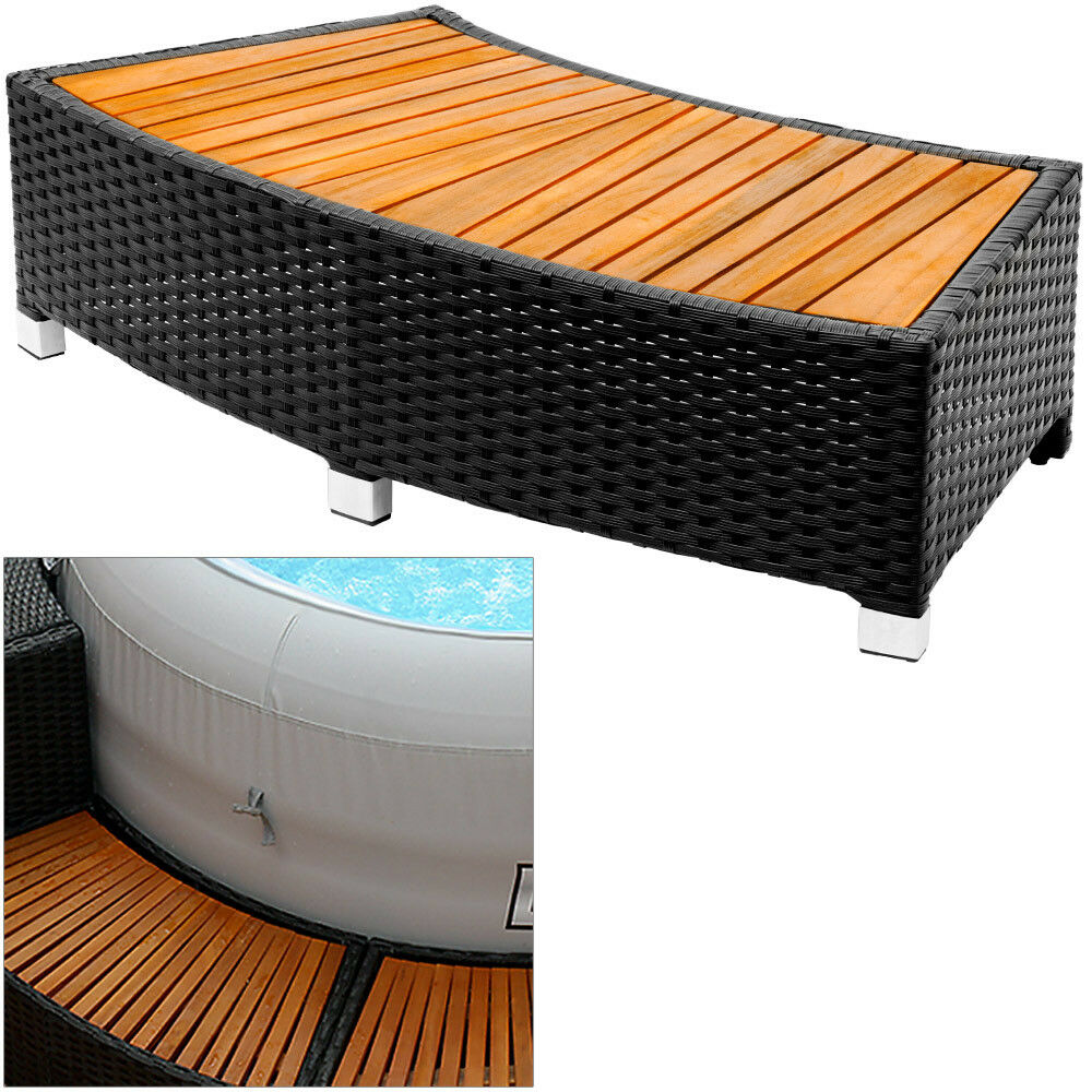 poly rattan einstieg whirlpool stufe treppe akazie einstiegsstufe pool umrandung ebay. Black Bedroom Furniture Sets. Home Design Ideas