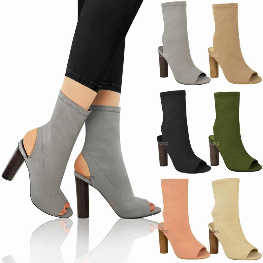 Womens Ladies Ankle Boots Knitted Stretch Celeb Block ...