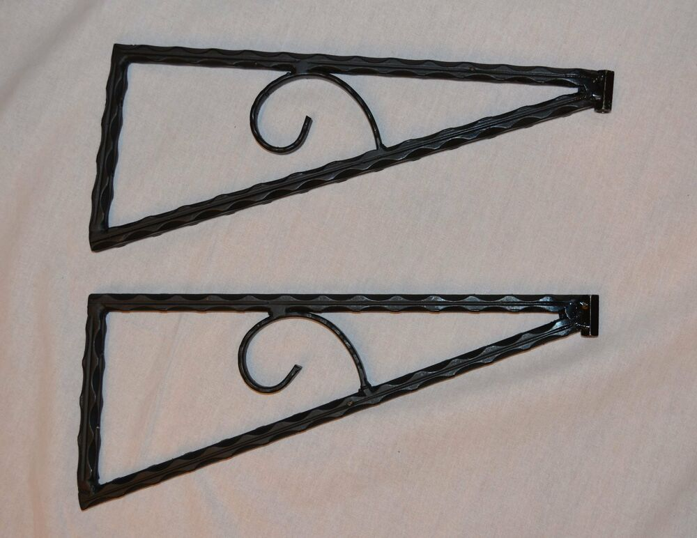 6 pcs 3 pairs wrought iron closet shelf brackets hand made heavy duty ebay. Black Bedroom Furniture Sets. Home Design Ideas