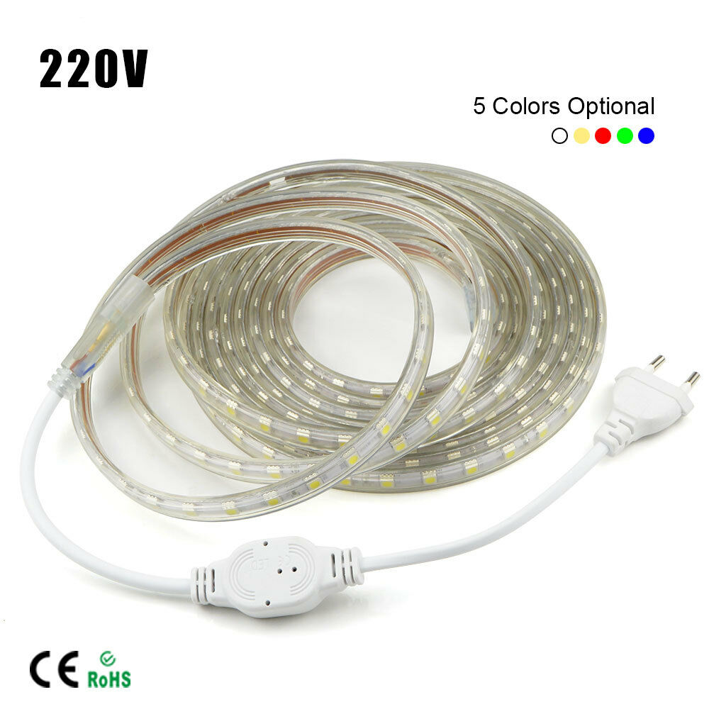 1m 10m waterproof smd 5050 led strip 220v 230v 60leds m flexible tape rope light ebay. Black Bedroom Furniture Sets. Home Design Ideas