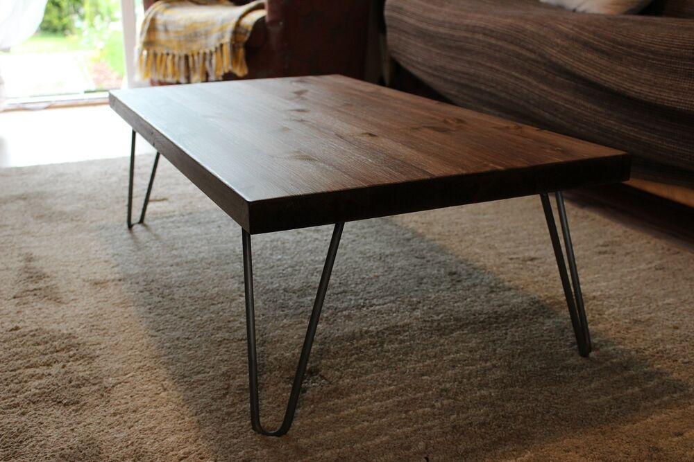 Rustic Vintage Industrial Wood Coffee Table Metal Hairpin Legs Ebay