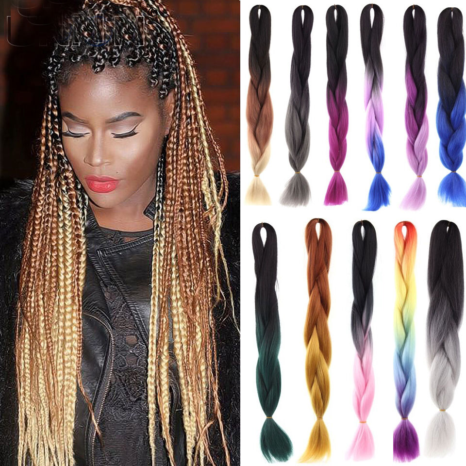styling synthetic hair extensions fashion ombre kanekalon jumbo braiding hair 3628
