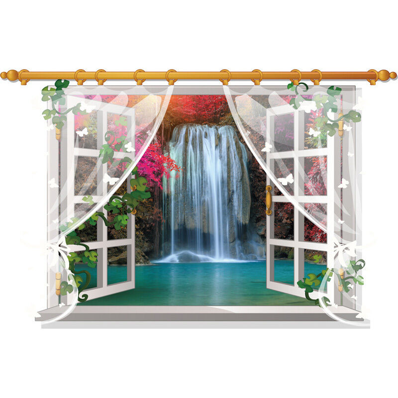 Waterfall 3d Window View Removable Wall Art Sticker Diy