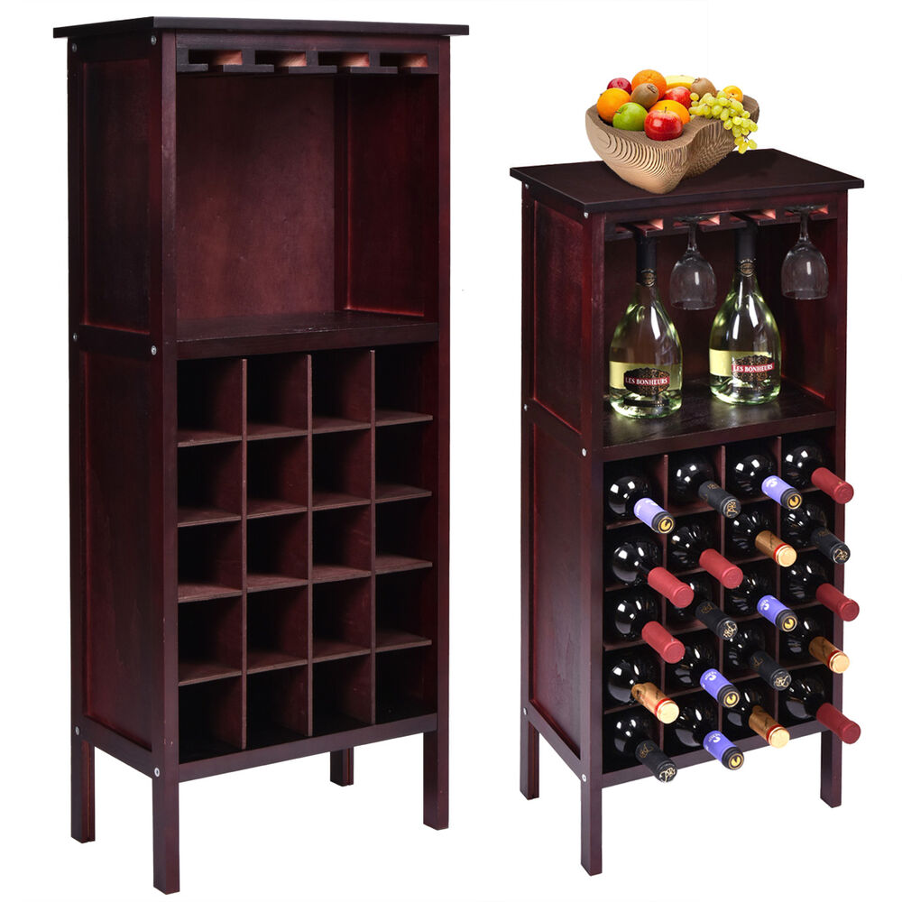Top Server W Wine Rack: New Wood Wine Cabinet Bottle Holder Storage W/ Glass Rack