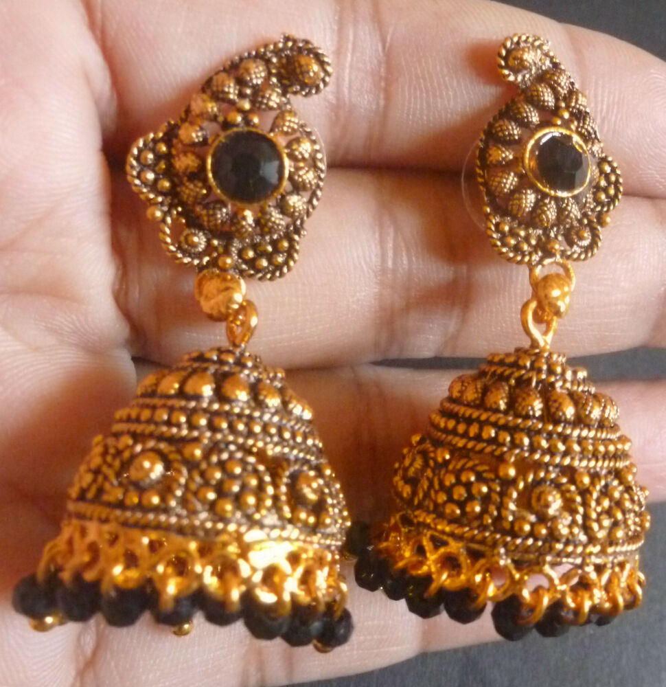 South Indian Traditional Antique Gold Plated Jhumka ...