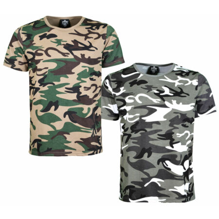 img-Mens Camouflage T Shirt Army Camo Tshirt Short Sleeve Crew Neck Top