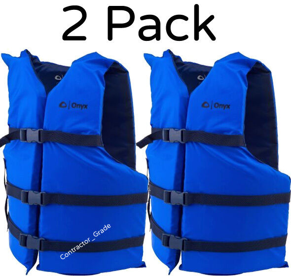 Adult Life Jacket Preserver 2-Pack Blue USCG Type III ...