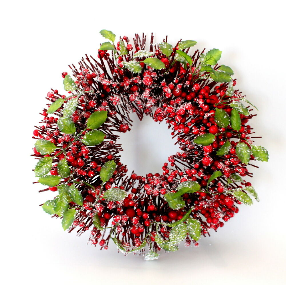 Christmas Berry Tree Hawaii: 35/42cm Christmas XMAS Large Red Berry Wreath W Holly Snow