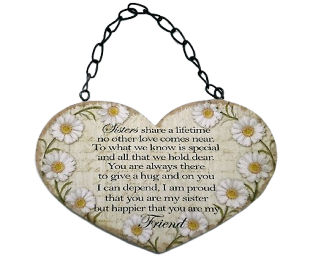 Details About Wall Plaque Daisy Heart Sister My Best Friend Sign 19cm Birthday Gift SG1592