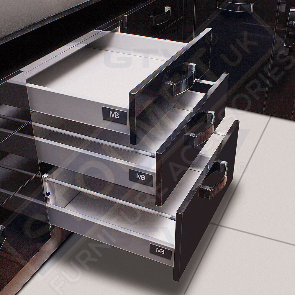 White Soft Close Kitchen Drawer Runners System Modern Box