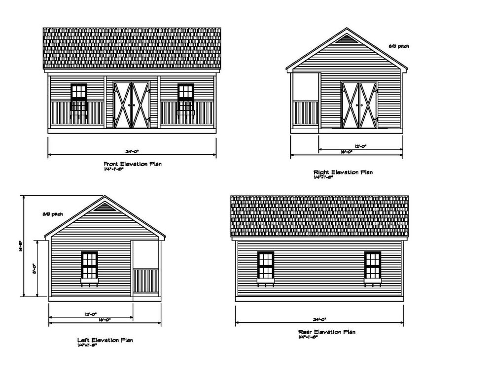 Shed plans 24 39 x16 blueprints shed 16 39 x24 39 gable front for 24x24 garage plans with loft