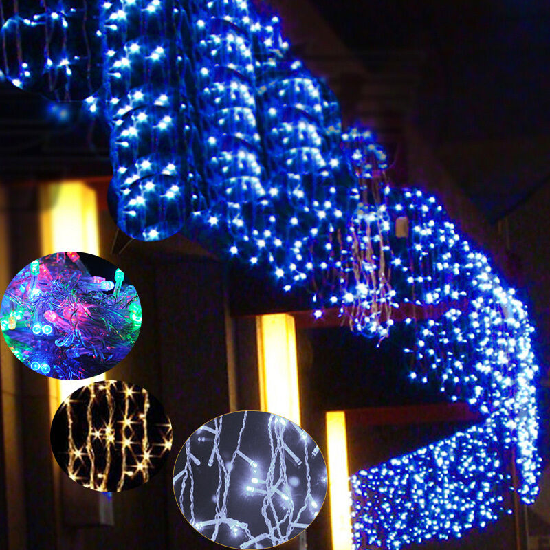 Icicle String Lights Outdoor : 96 LED Hanging Icicle Snowing Curtain Lights Outdoor Fairy Xmas String Wedding eBay