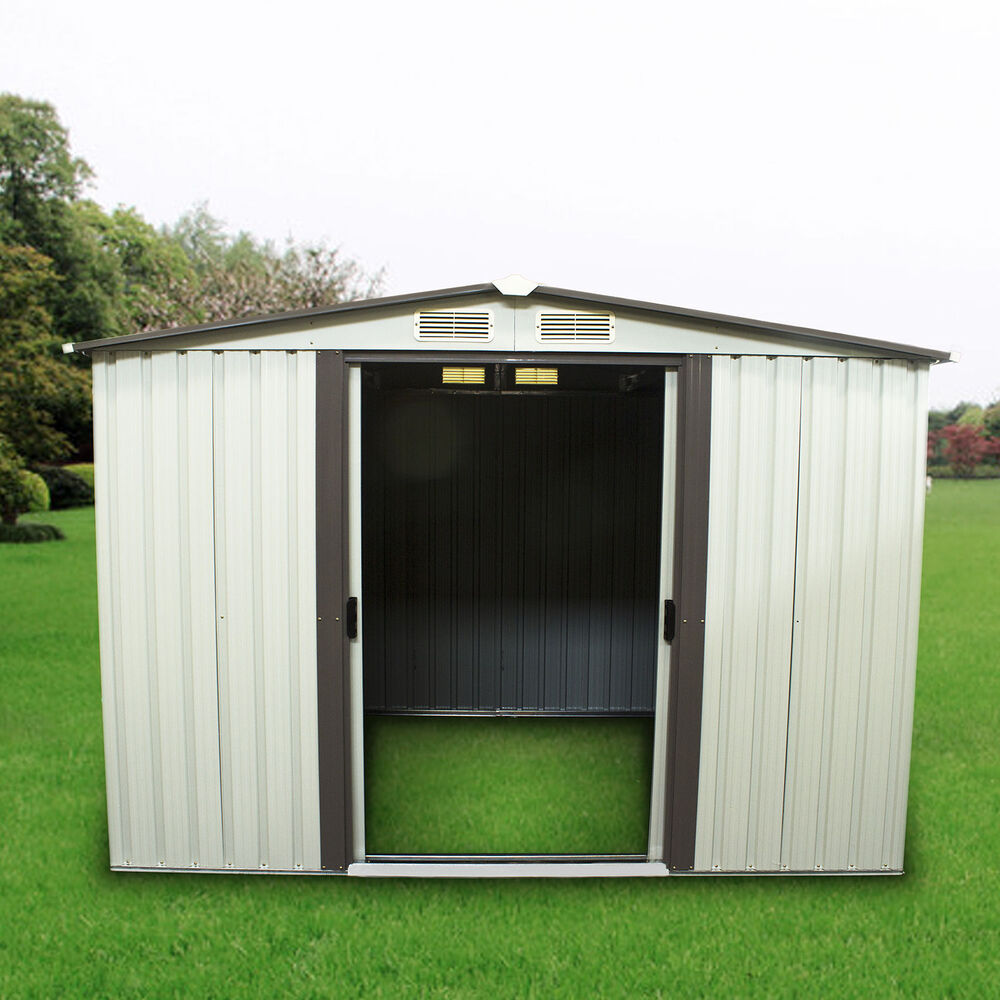 3 size outdoor steel storage shed tool house backyard for Storage shed overhead door