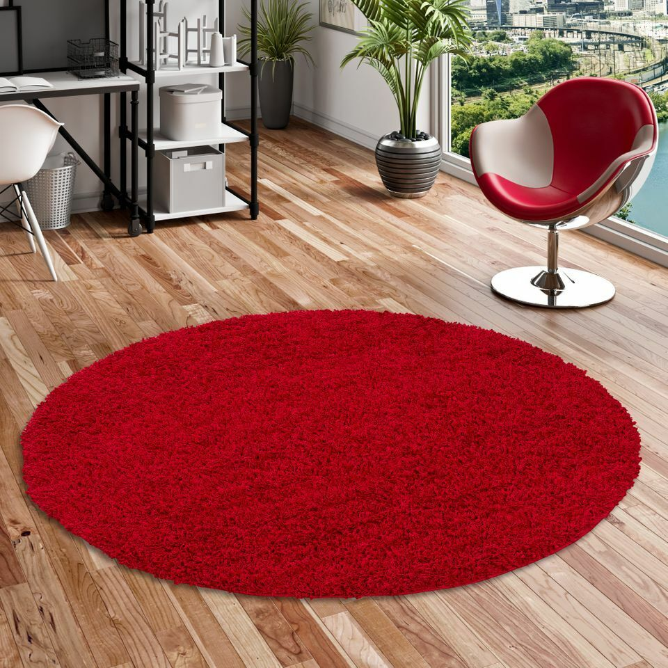 hochflor langflor shaggy teppich aloha rot rund ebay. Black Bedroom Furniture Sets. Home Design Ideas