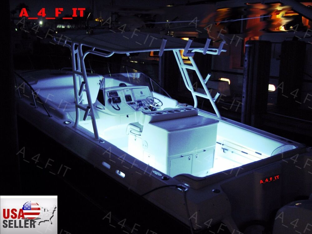 White Led Boat Lights Kit Waterproof Pod Bright Led Strips Marine Bowrider 8pc Ebay