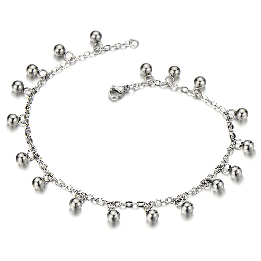 stainless steel anklet bracelet with dangling charms of