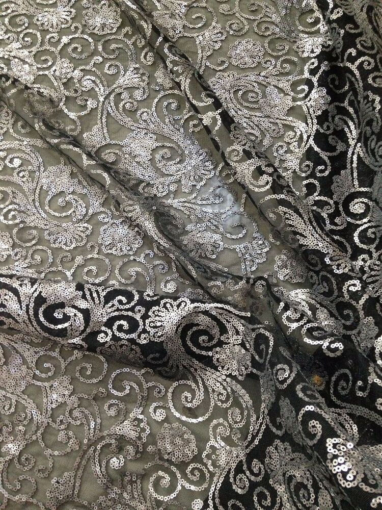 Floral Embroidery Fabric Mesh Lace Sequins Black Mesh Gray