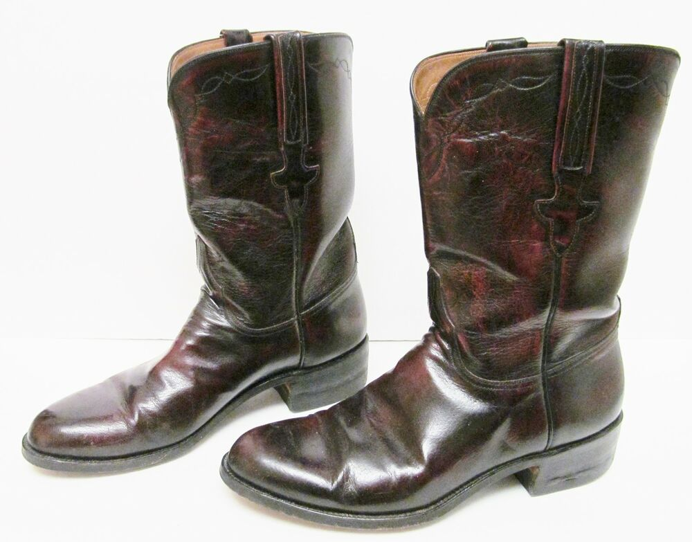 lucchese goat leather boots roper western black cherry