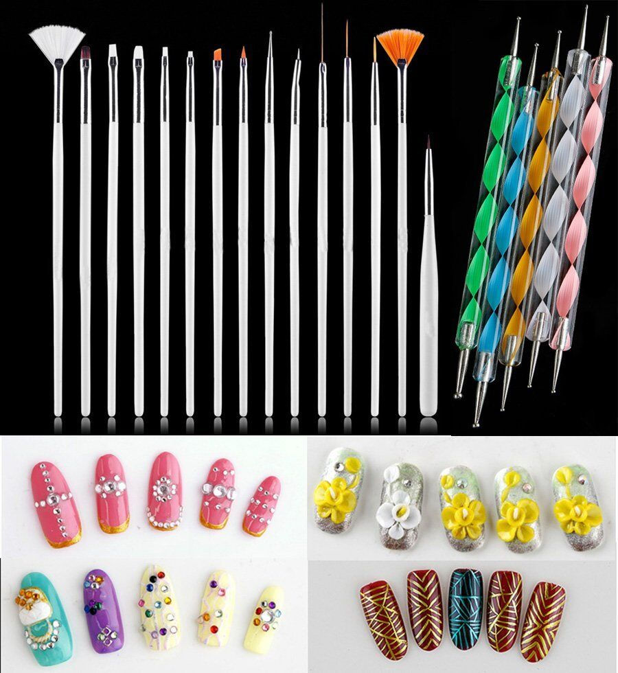 20pcs uv gel nail art design set dotting painting drawing for Avon nail decoration brush