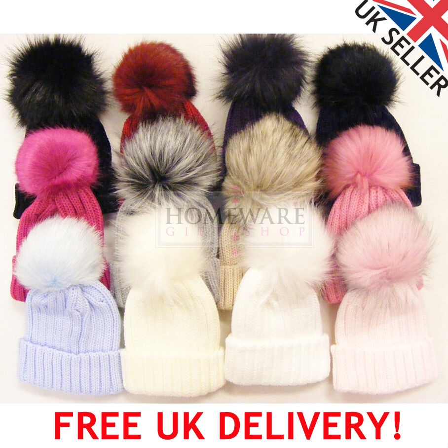 Details about BABY POM POM HAT GIRLS KIDS FAUX FUR BOBBLE HATS WINTER WARM  LARGE MATCHING POM a8625b5c35e