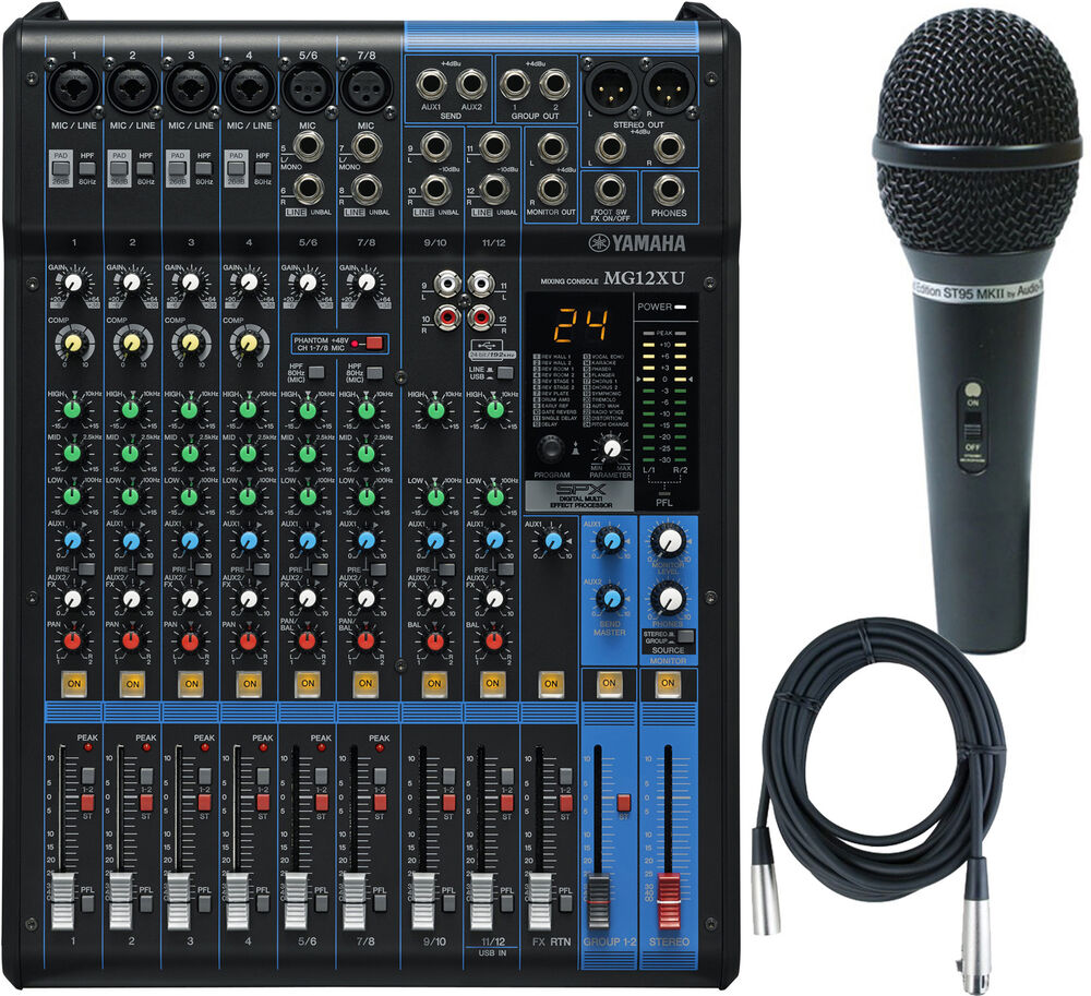yamaha mg12xu 12 input usb mixer w compression effects bundle w mic cable 86792334547 ebay. Black Bedroom Furniture Sets. Home Design Ideas