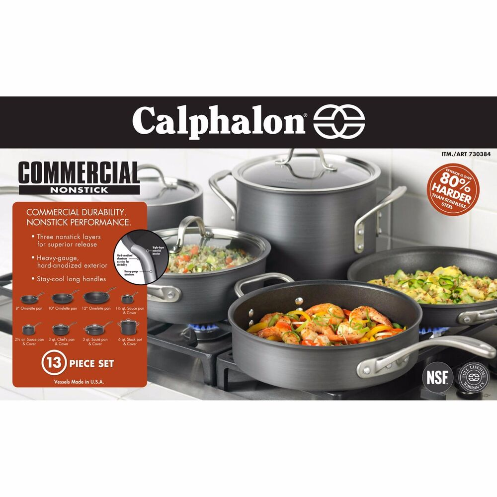 Industrial Kitchen Pans: New Calphalon Commercial Nonstick Hard Anodized 13 Piece