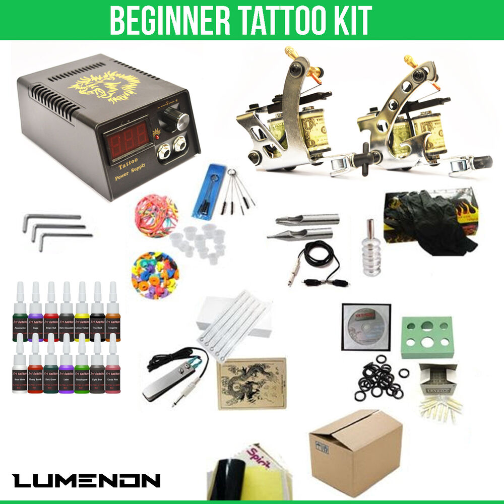 Tattoo kit 2 machine gun 14 color ink tip power supply set for Tattoo supplies ebay