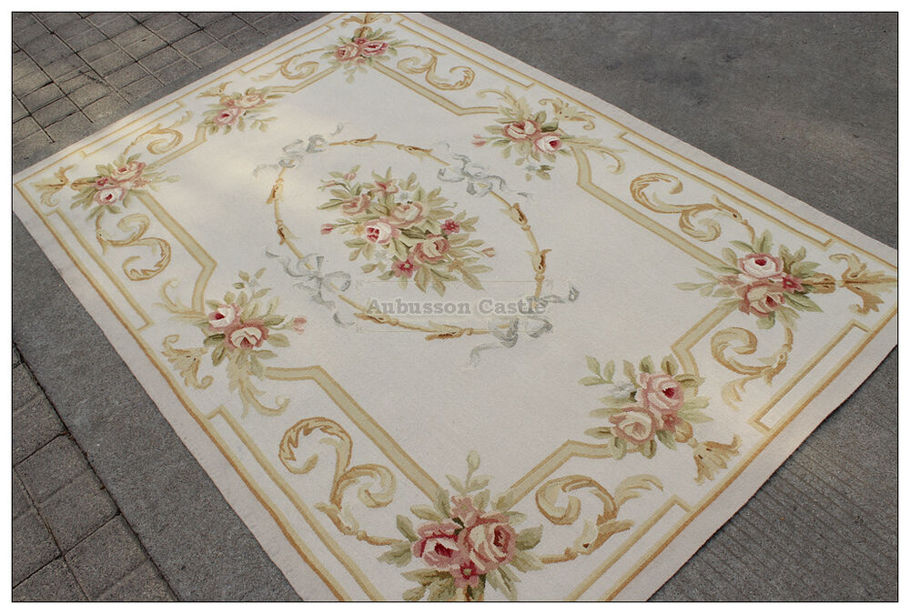 Pastel Aubusson Area Rug Light Grey Gray W Gold Pink Wool