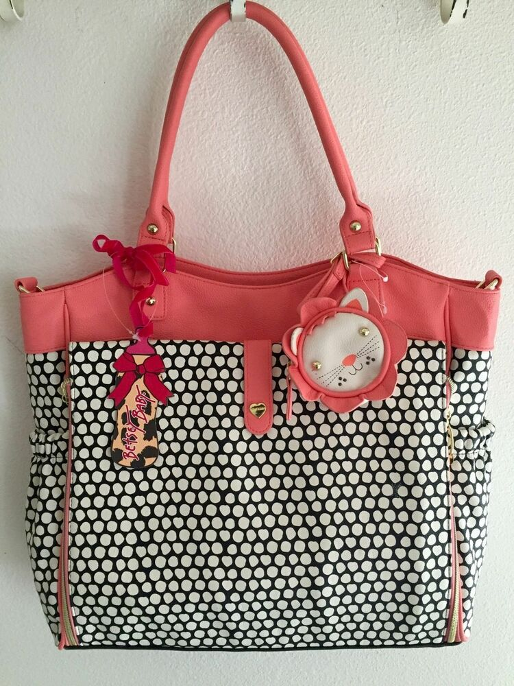 Nwt Betsey Johnson Black Coral Multi Roll Out Diaper