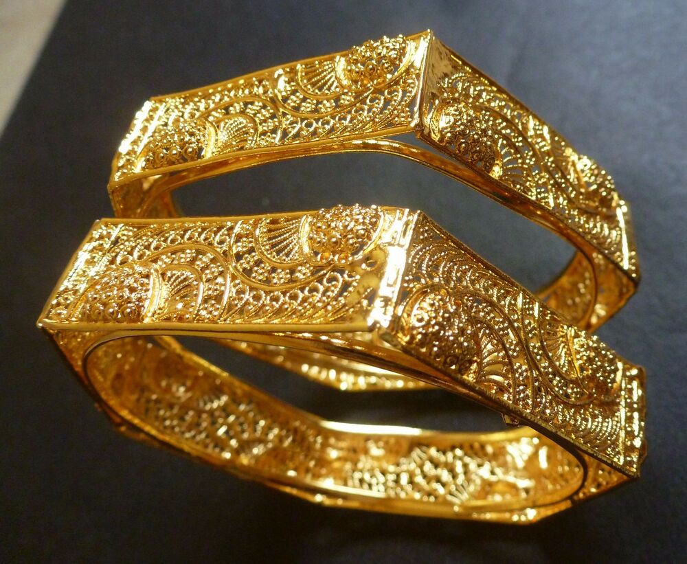 South Indian 22K Gold Plated 2 Bangles Bracelets 6 Angles ...