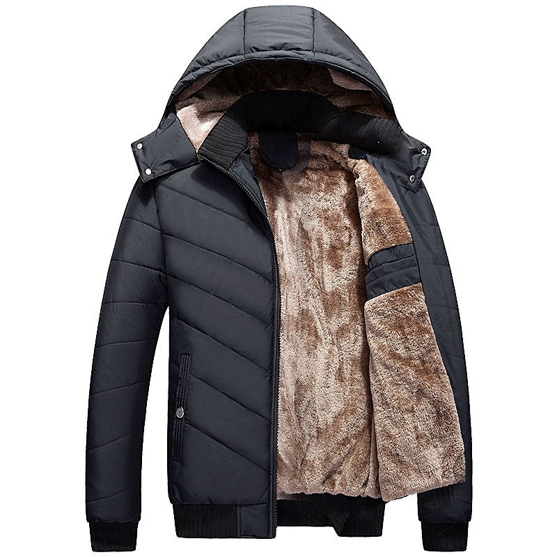 Men's Fashion Fleece Lined Thick Padded Coat Warm Winter ...