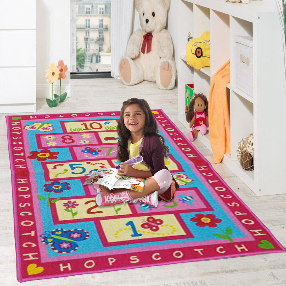 Kids pink hopscotch girls bedroom floor rugs nurcery play for Mats for kids room