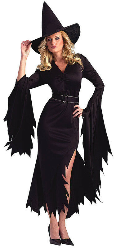 Womens Sexy Witch Midnight Black Halloween Costume Fancy Party Dress