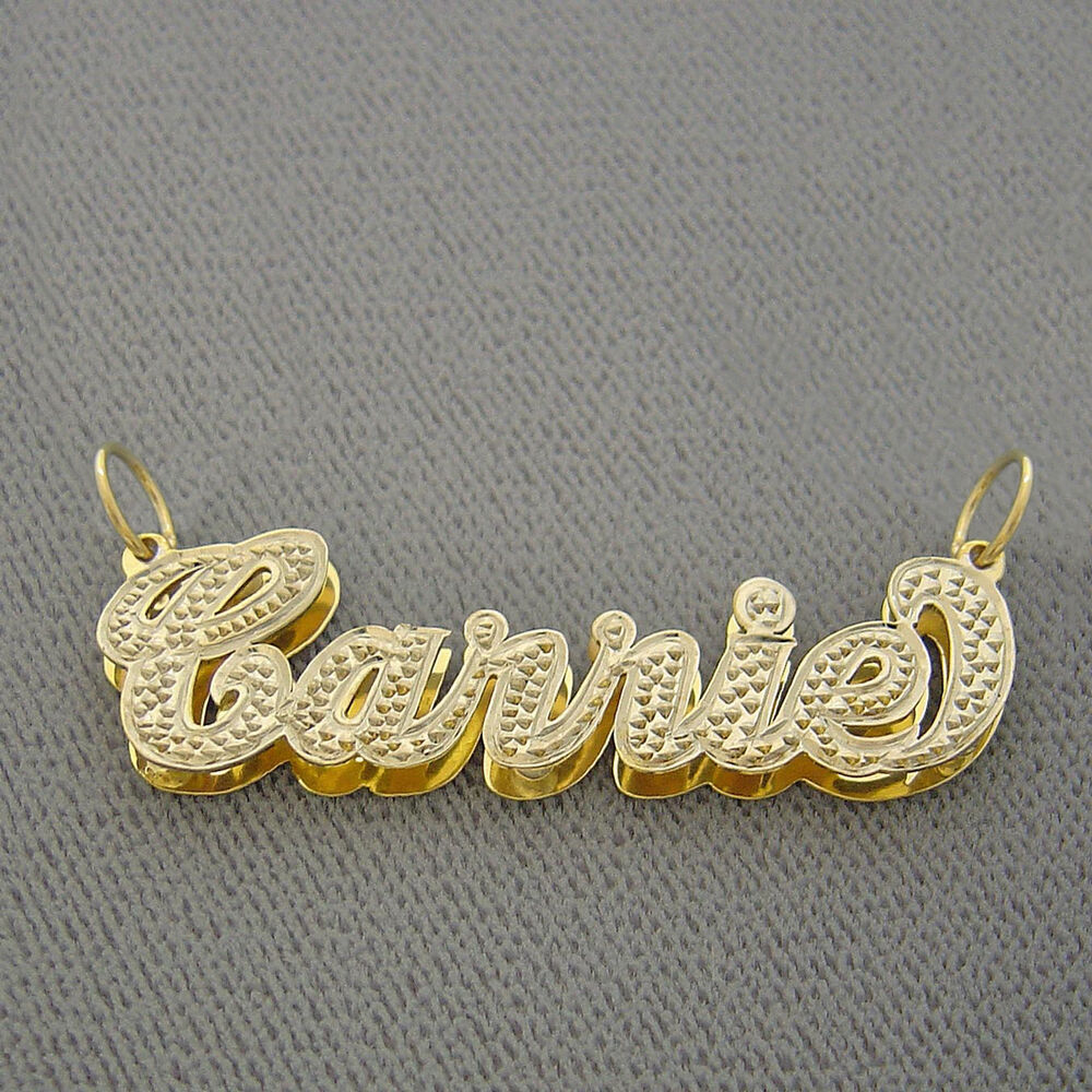 Personalized 10k Gold Double Plate Name Pendant Necklace