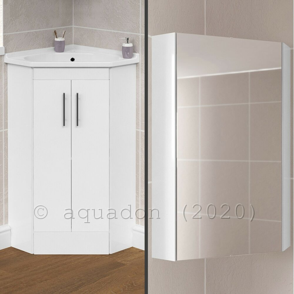 corner bathroom cabinet mirror bathroom cloakroom corner vanity storage unit basin sink 17915