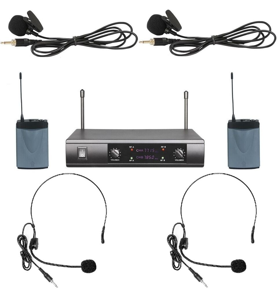 uhf dual wireless cordless 2 headset 2 lavalier microphone system ebay. Black Bedroom Furniture Sets. Home Design Ideas
