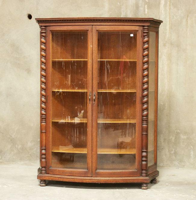 glass display cabinet h1157 antique american oak curved glass front china 15831