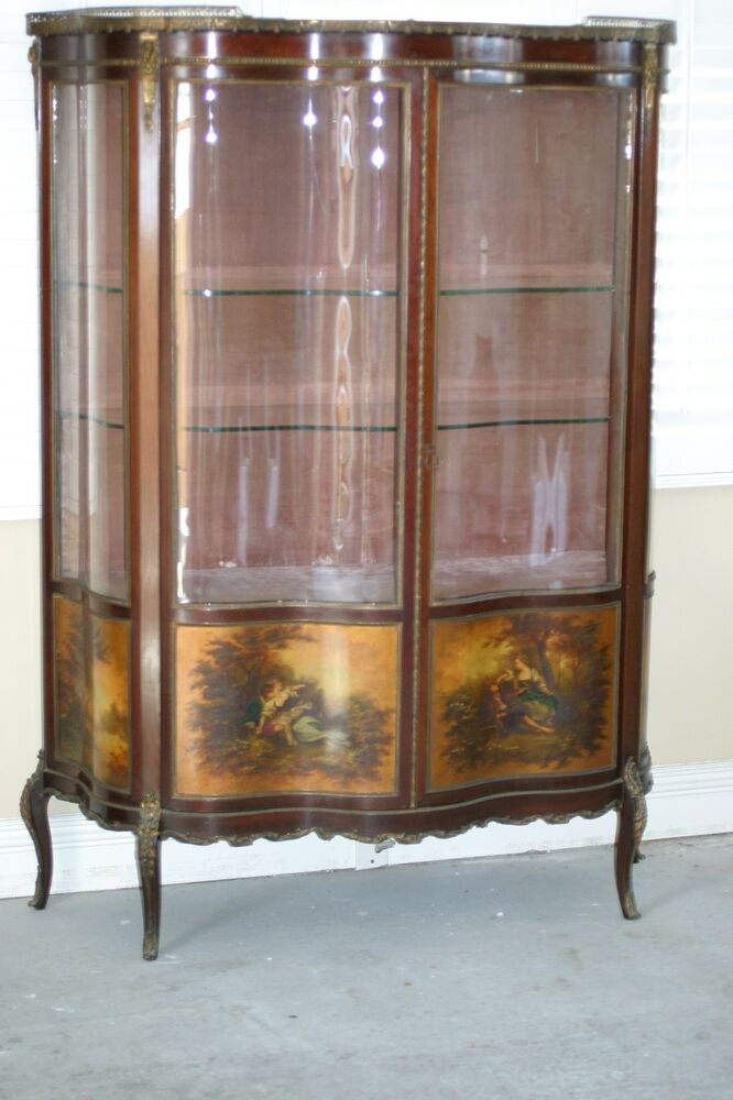 ANTIQUE FRENCH VERNIS MARTIN VITRINE SHOWCASE,CURVED GLASS