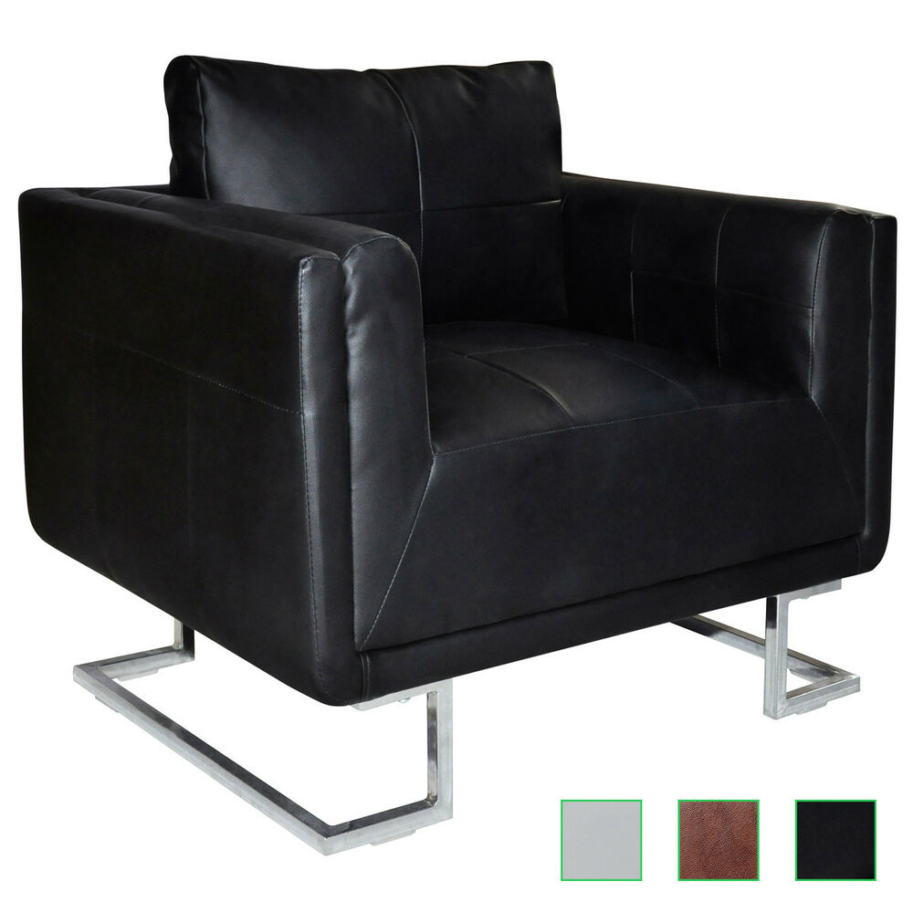 Black leather arm chair - Cube Club Chair Accent Armchair Real Leather Chrome Frame White Black Brown