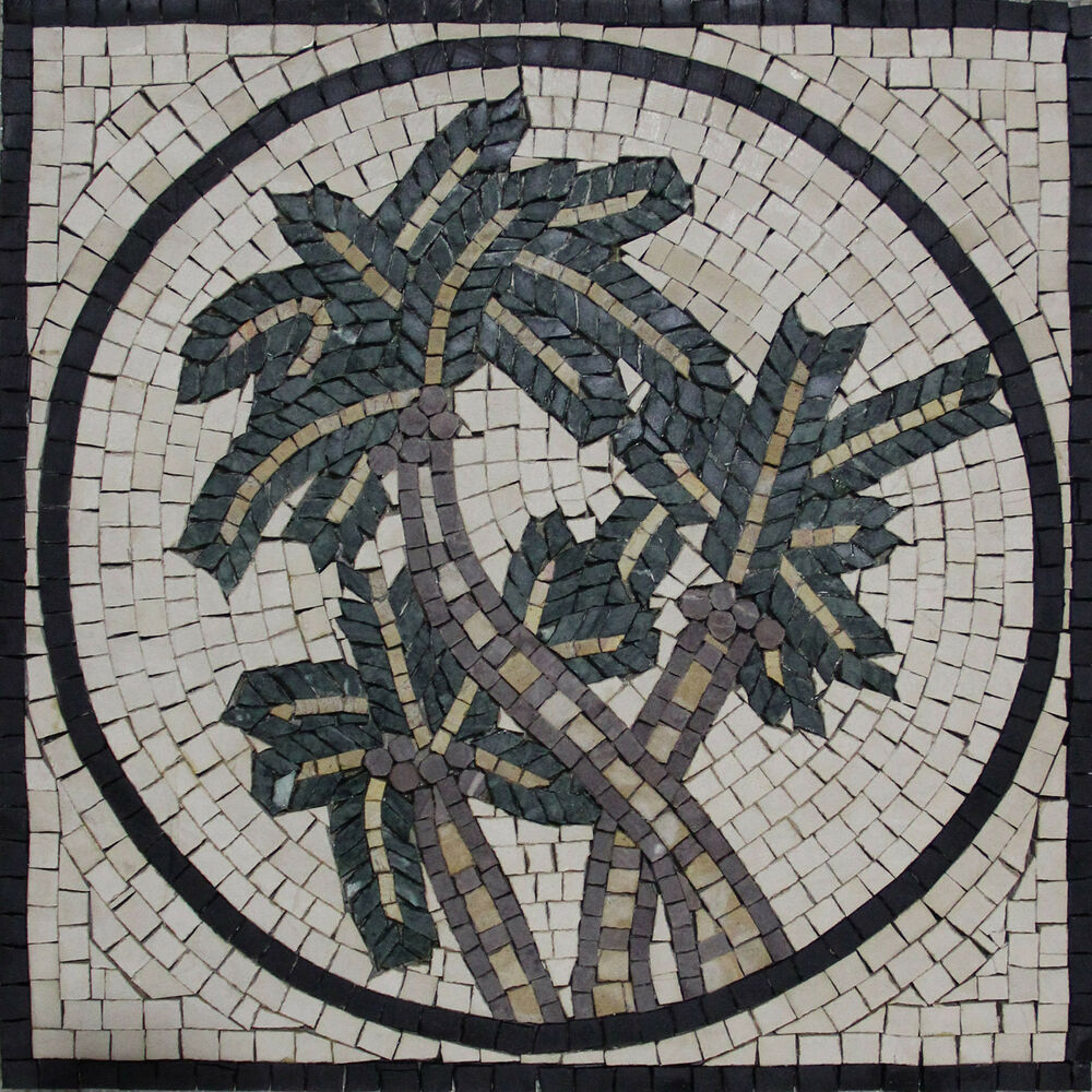 hand made palm trees tile stone marble mosaic in397 ebay. Black Bedroom Furniture Sets. Home Design Ideas