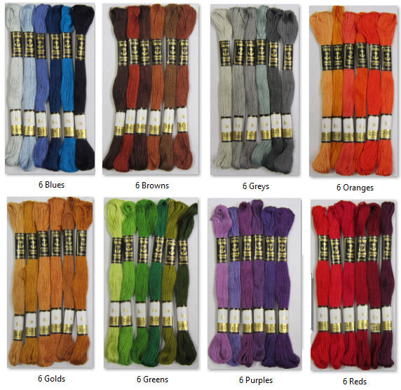 6 x Anchor Stranded Cotton Embroidery Thread Floss Skeins ...