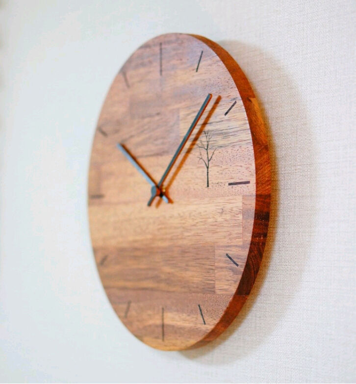 All categories rustic home decor rustic kitchen decor - Hand Made 100 Natural Hard Solid Wood Wall Clock Quiet