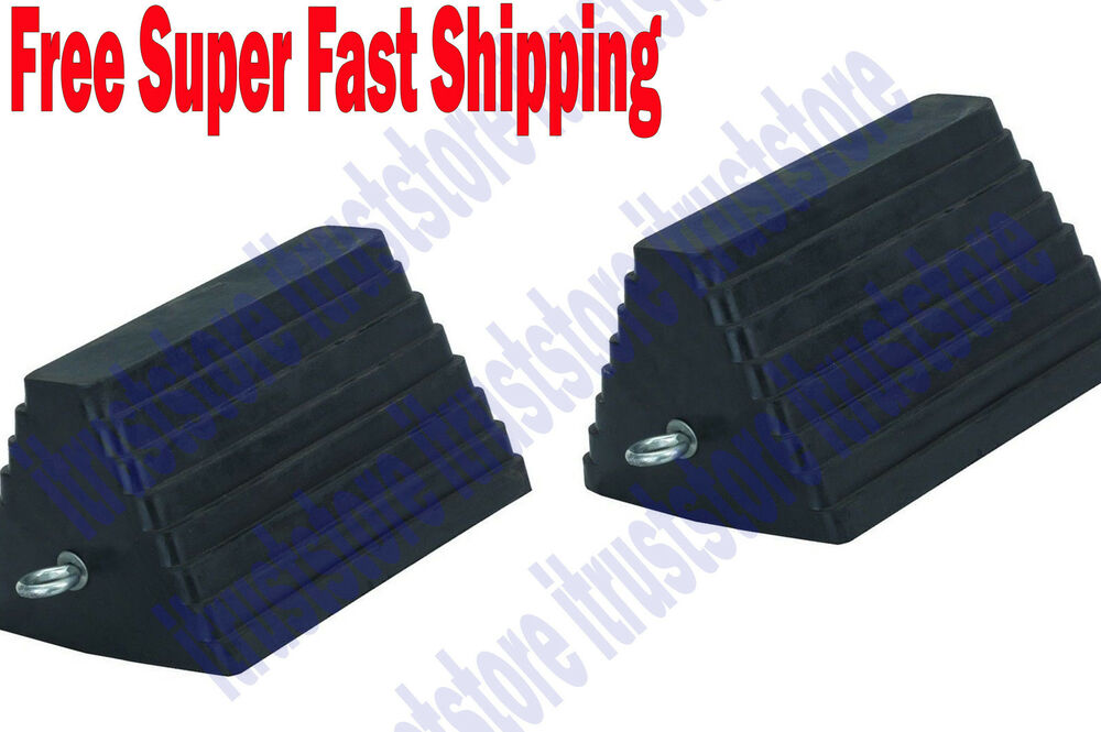 Camper Wheel Chocks >> 2PC LARGE SOLID RUBBER TRAILER TRUCK WHEEL TIRE SAFETY ...