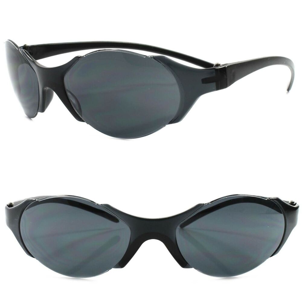 8102687573 Details about Wrap Around Cosplay Costume Party Sci-Fi Alien Futuristic  Black Sun Glasses
