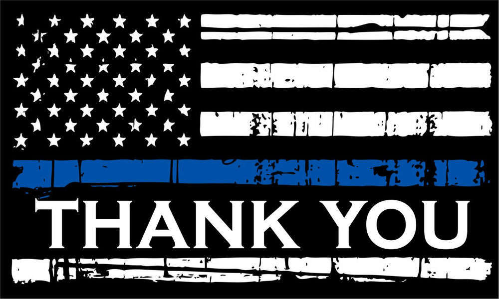 Thin Blue Line Decal American Flag Reflective Thank You